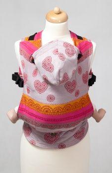 Ergonomic Carrier, Baby Size, jacquard weave 100% cotton - wrap conversion from CHERRY LACE - LennyLamb.com
