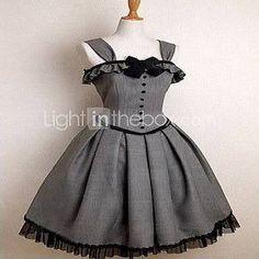 Sleeveless Knee-length Gray Cotton Gothic Lolita Dress