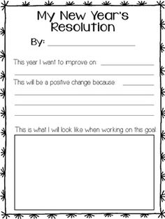 FREEBIE! New Years resolution worksheet is a great way for students to set a goal for something they would like to change in the following year. Great to use after winter break in your kindergarten or first grade classroom.