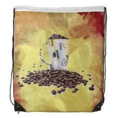 Coffee Aroma Drawstring Backpack Bags