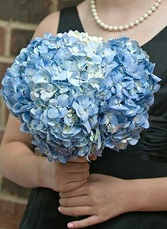 Simple Wedding Bouquet Of Blue Hydrangea