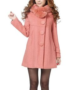 Solid Color Stunning Style Worsted Long Sleeves Bow Tie Women's Coat, PINK, M in Jackets & Coats | DressLily.com