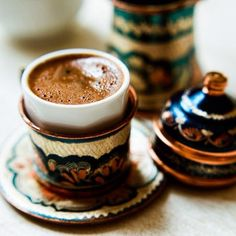 Authentic Turkish coffee with traditional coffee cups from eastern Anatolia…
