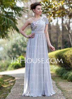 Evening Dresses - $146.99 - A-Line/Princess One-Shoulder Floor-Length Chiffon Sequined Evening Dress With Ruffle Beading (017022933) http://jjshouse.com/A-Line-Princess-One-Shoulder-Floor-Length-Chiffon-Sequined-Evening-Dress-With-Ruffle-Beading-017022933-g22933