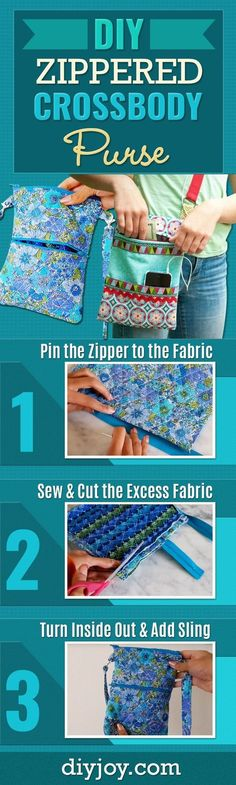 DIY Zippered Cross Body Purse - Easy Sewing Project With Step by Step Tutorial and Video - Free Sewing Patterns and Ideas - Cute DIY Fashion and Handmade Gift Ideas for Women - DIY Projects and Crafts to Sew for Friends and Family