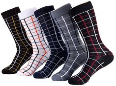 Marino's Men Design Dress Socks, Modal Cotton Socks, 5 Pairs W/ Elegant Gift Box - Casual Collection - 13-15