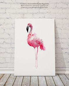 Flamant Art Print rose Wall Decor oiseaux par ColorWatercolor