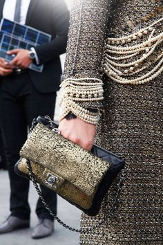 Chanel pearls and sequins #StreetStyle