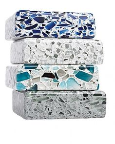 Recycled glass kitchen counter top