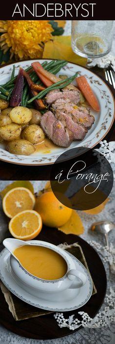 Andebryst med appelsinsauce: nem udgave af Canard á l'orange Danish Food, Orange, Pot Roast, Gourmet Recipes, Watermelon, Sausage, Good Food, Turkey, Food And Drink