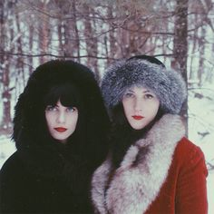 Insta-Envy! How Real Girls Do Winter #refinery29  http://www.refinery29.com/winter-instagram-pictures#slide6  Photographer Courtney Brooke and Kate of All This Happiness serve straight, Old Hollywood glamour — and make us seriously reconsider our puffer coats for those snowy Sunday walks.