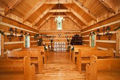 """CREEKSIDE COVE WEDDING CHAPEL"""" - Call us today to rent this beautiful log chapel for your perfect Pigeon Forge wedding ceremony. Nestled in a Hemlock and Laurel rich hollow, your wedding can be held by candlelight, on our primitive bridge, by the creek, or in front of our gazebo. Designed for intimate weddings, the chapel can comfortably seat 20 persons."""