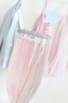 glasses dipped in silver sprinkles, pink champagne cupcakes