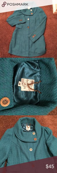 Tulle Blue Coat Beautiful coat with bronze buttons. Lined. Great condition. Tulle Jackets & Coats Pea Coats