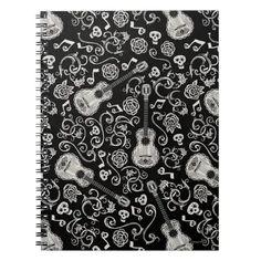 Disney Pixar Coco | Guitar & Rose Pattern Notebook Page Design, Cover Design, Gothic Pattern, Thing 1, Disney Pixar Cars, Custom Notebooks, Create Yourself, Prints, Handmade