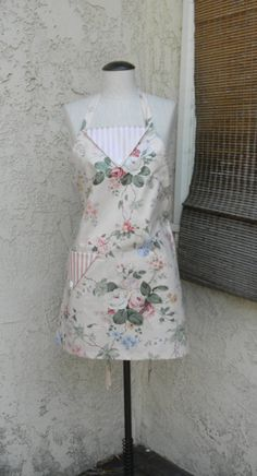 Full Apron Pink Floral and Stripes Big Side Pocket by MirtaBurns, $19.99