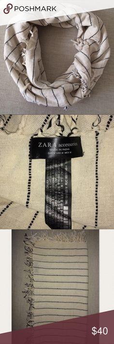 """🎉SALE🎉Zara Scarf NWOT Gorgeous cream and black striped Zara scarf, 50""""wide, 45"""" long. Zara Accessories Scarves & Wraps"""