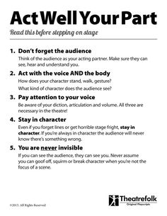 Acting Tips Poster-good reminders for rehearsals and the actual show Acting Lessons, Acting Class, Voice Acting, Acting Tips, Acting Skills, Acting Games, Acting Career, Teatro Musical, Drama Teacher
