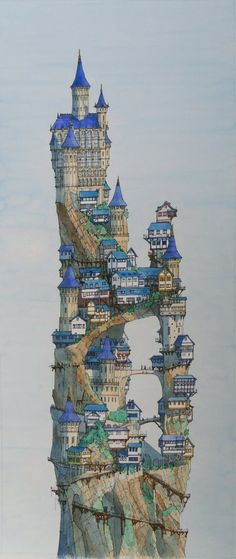 Fantasy Tall Castle born out of a discussion at an exhibition 6 years ago. The Artist Hayden Otten used Usual method for that pictures: rough sketch on back of mounting board and also wet work -watercolour and some ink. Fantasy City, Fantasy Castle, Fantasy Kunst, Fantasy Places, Fantasy World, Fantasy Village, Fantasy Map, Medieval Fantasy, Art And Illustration