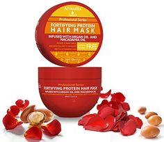 Amazon.com: Fortifying Protein Hair Mask and Deep Conditioner with Argan Oil and Macadamia Oil By Arvazallia - Hair Repair Treatment for Damaged , Brittle , or Thinning Hair - Promotes Natural Hair Growth: Beauty