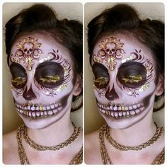 What's Halloween without a sugarskull! I had fun doing this especially with all the gold leaf, enjoy  #Makeup #makeupartist #makeupobsession #sugarskull #halloweenmakeup #halloween #pale #goldleaf #beatthatface #wakeupandmakeup #eyeliner #skull #lashes #doyouevenblend #dominiqueldr #depechegurl #makeupmouse #wat