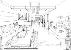 one point perspective living/dinningroom