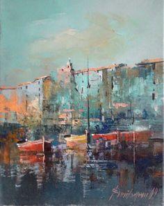 Branko Dimitrijevic, Boats, Oil on canvas, 30x20cm