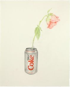 Soda Can and rose colored pencil