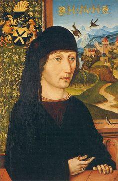 WOLGEMUT, Michael : Portrait of Levinus Memminger  c.1485  Oil on panel, 34 x 23 cm  Thyssen-Bornemisza Museum, Madrid
