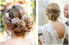 penteados com coroas de flores - Pesquisa Google