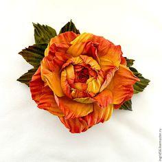 Купить Брошь из натуральной кожи и замши Роза Глория 2, желтый красный - украшения из кожи