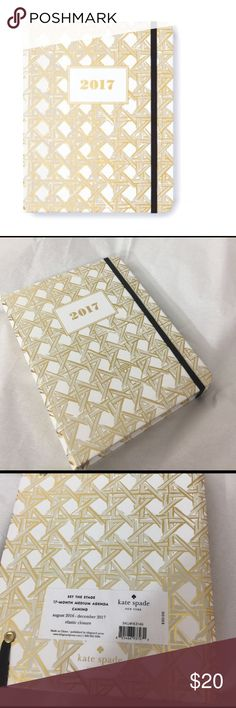 Kate Spade 17-Month Medium Agenda Keep yourself on track throughout the year with the Kate Spade 17-Month Medium Agenda. This planner comes in a beautiful gold print. With monthly and weekly planning pages, space for lists and notes, and an inner slip pocket. Fastening with a secure elastic band, and with fun monthly ideas.  Medium Hardback Elastic band closure August 2016 – December 2017 Monthly and weekly planners Note pages Inner slip pocket Laminated dividers Gold spiral bound Fun new…