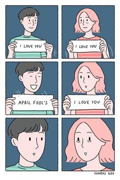 Happy April Fool's Day! Sad Comics, Comics Love, Short Comics, Cute Comics, Funny Comics, Cute Couple Comics, Couples Comics, Cute Couple Art, Anime Couples