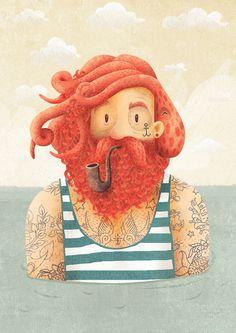 Octopus - illustration by Adrian Macho Art And Illustration, Illustrations, Hipster Illustration, Octopus Shower Curtains, Octopus Bathroom, Framed Art Prints, Canvas Prints, Inspiration Art, Art Design