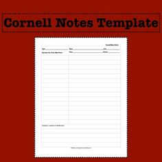 I Was Very Frustrated With Finding A Cornell Notes Template