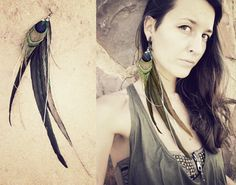 super long TRIBAL FEATHER EARRING dark green by SiamicWear on Etsy, €19.00