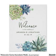 Watercolor Cactus Succulents Wedding Welcome Poster