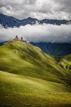 Gergeti Trinity church (Tsminda Sameba) is situated on Mount Kazbegi, in northern Georgia, North Caucasus Mountains.  Photo by Adam Brill.
