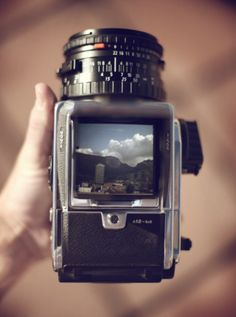 Table Mountain through a Hasselblad 503 viewfinder