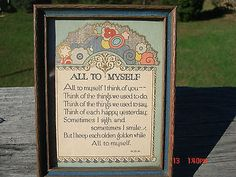 VINTAGE NICE 1920'S ART DECO FRAMED SMALL MOTTO PRINT ALL TO MYSELF W.D.N.