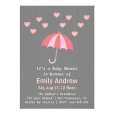 Pink and Grey Baby Shower with Love and Umbrella Announcements ( light grey background instead)
