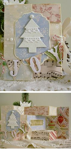 Christmas card - die cut mat for 3D die with lettered pennant banner