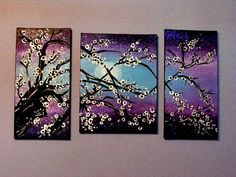 Blossom tree three piece painting! Painted this to match my bedroom theme! :)