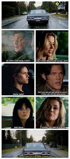 "Headcannon: Sam and Dean meet their ""female counterparts"". Hilarity ensues. #Supernatural #Funny:"