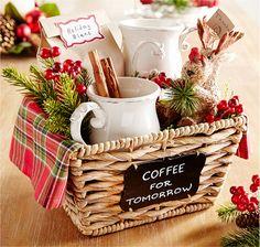 Gift basket with coffee and mugs from Pier 1 Geschenkkorb mit Kaffee und Tassen von Pier 1 Coffee Gift Baskets, Fall Gift Baskets, Christmas Gift Baskets, Diy Christmas Gifts, Simple Christmas, Basket Gift, Xmas, Valentine Gift Baskets, Christmas Budget