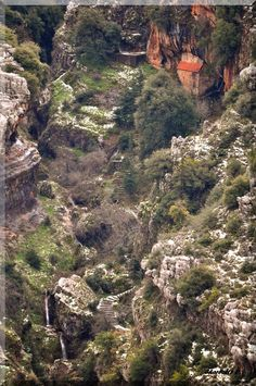 Lebanon Qnat My Village Monastery  St. Challita Fresh air, clean natural water, breath taking views!!! Qnat is blessed by his almighty..two waterfalls on the lower left