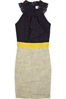 Patterned black, yellow waist belt & a tweed accented bottom