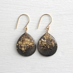 charcoal and gold glitter teardrop earrings on gold filled earwires - large size