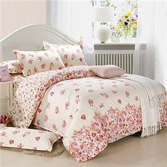 Floral Coton / rayonne 4 Pièces Housse de couette ensembles