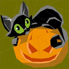 (7) Name: 'Quilting : Cat & Pumpkin